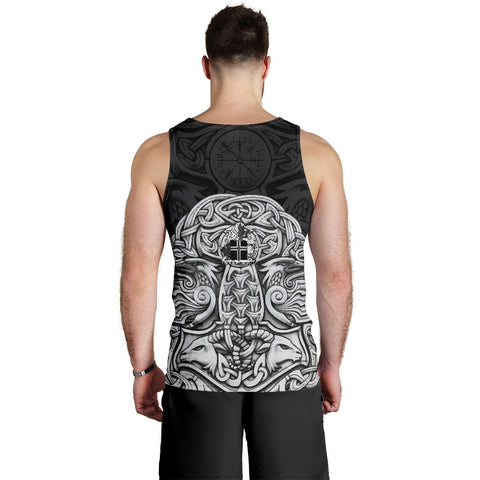 Image of 1stIceland Viking Men's Tank Top, Odin's Raven Mjolnir Helm Of Awe K4 - 1st Iceland