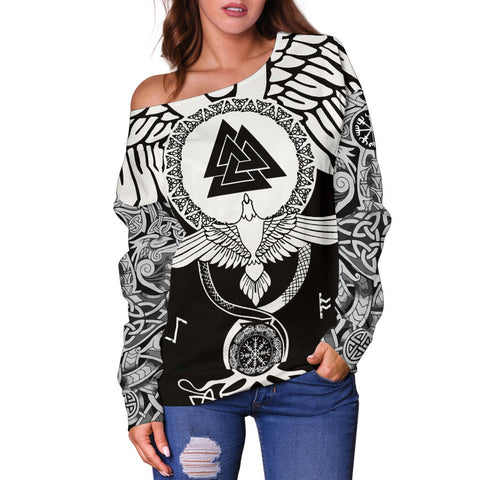 1stIceland Viking Off Shoulder Sweater, Flying Raven Tattoo And Valknut - 1st Iceland