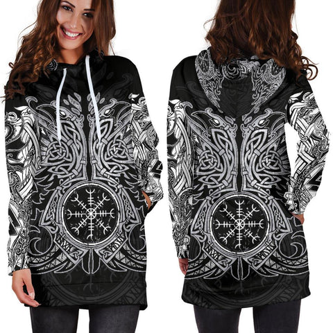 1stIceland Viking Hoodie Dress, Odin's Ravens Helm Of Awe Th5 - 1st Iceland