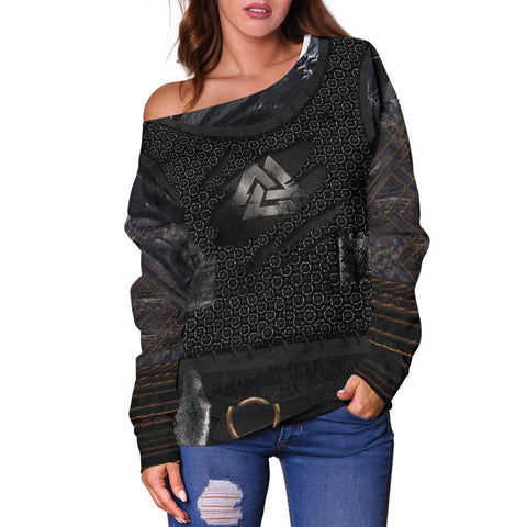 1stIceland Vikings Off Shoulder Sweater, New Valknut 3D Viking Armour - Th00 - 1st Iceland