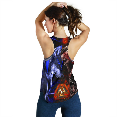 Image of 1stIceland Viking Women's Racerback Tank Ragnar and Wolf TH12 - 1st Iceland