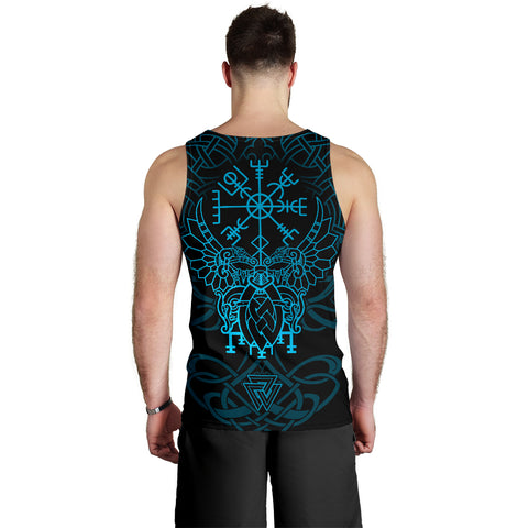 Image of 1stIceland Viking Mjolnir Men Tank Top Celtic Raven Version Blue K13 - 1st Iceland