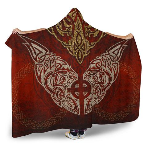 1stIceland Viking Hooded Blanket, Fenrir Skoll And Hati Sun Cross K7 - 1st Iceland