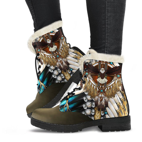 Image of Native American Faux Fur Leather Boots Mandala 1st K7 - 1st Iceland