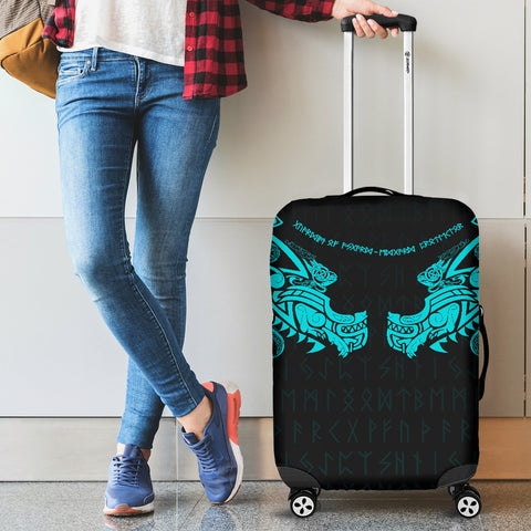 Image of 1stIceland Viking Luggage Covers, Fenrir Tattoo The Ragnarok - Blue K4 - 1st Iceland