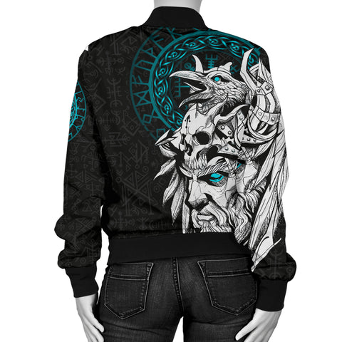 1stIceland Viking Odin And Raven Turquoise Women Bomber Jacket TH12