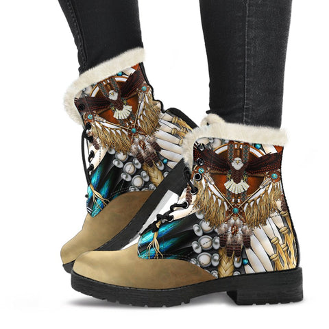 Native American Faux Fur Leather Boots Mandala 2nd K7 - 1st Iceland