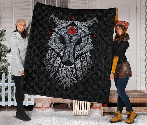 Image of Viking Wolf and Raven Premium Quilt Valknut Runes Back | 1stIceland