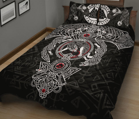 Image of 1stIceland Viking Quilt Bed Set, Fenrir Skoll And Hati Valknut Raven TH00 - 1st Iceland