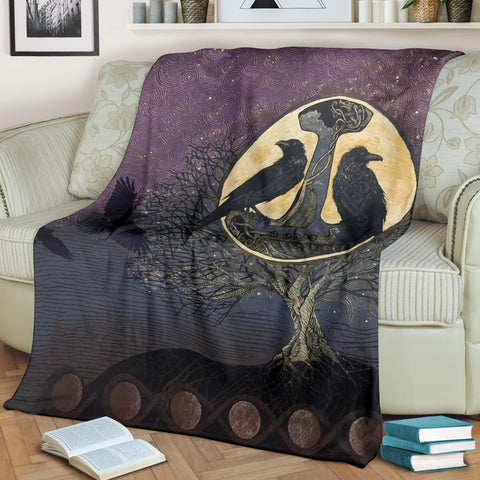 1stIceland Viking Premium Blanket, Raven And Tree Of Life K5 - 1st Iceland