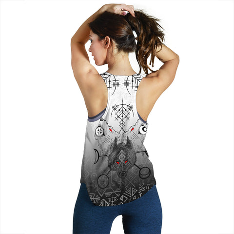 Image of 1stIceland Viking Wolf Women Racerback Tank Runes Special Back | 1stIceland