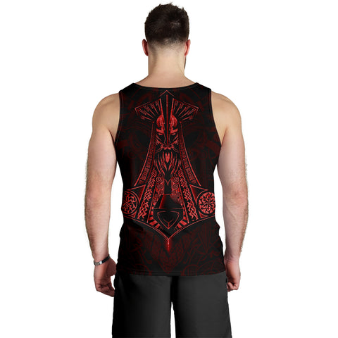 Image of 1stIceland Viking Men Tank Top, Odin Norse Mythology Mjolnir K4 - 1st Iceland