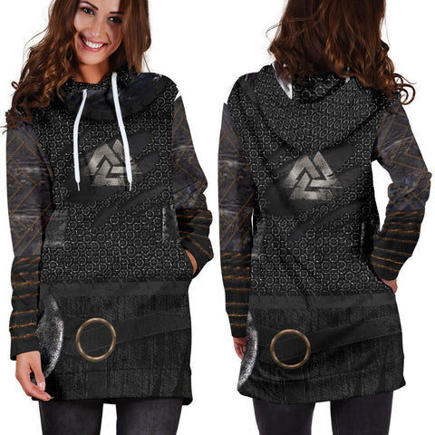 1stIceland Vikings Hoodie Dress, New Valknut 3D Viking Armour Th00 - 1st Iceland