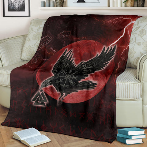 1stIceland Viking Premium Blanket, Raven Helm Of Awe Valknut Mjolnir Rune TH70 - 1st Iceland