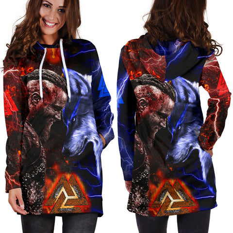 1stIceland Viking Women's Hoodie Dress Ragnar and Wolf TH12 - 1st Iceland