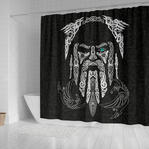 Image of 1stIceland Viking Shower Curtain, Odin's Eye with Raven K4 - 1st Iceland