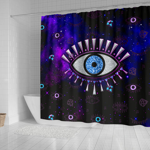 1stIceland Evil Eye Shower Curtain Simple Style - Black K8 - 1st Iceland