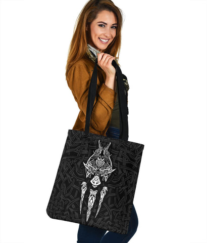 1stIceland Viking Tote Bag, Fenrir The Vikings Wolves Th00 Black - 1st Iceland