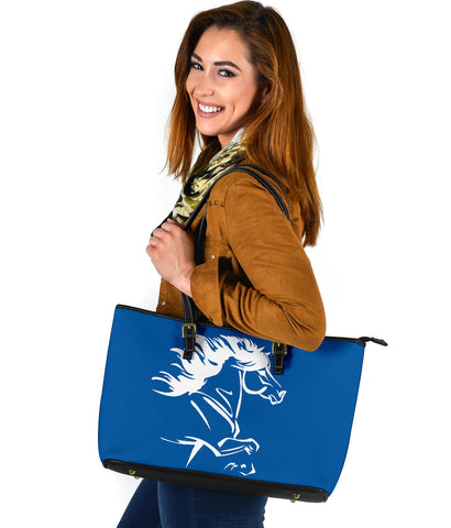 1stIceland Large Leather Tote, Icelandic Horse Coat Of Arms K4