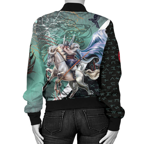 Image of The Viking Runes Women Bomber Jacket Odin And Sleipnir K13 - 1st Iceland