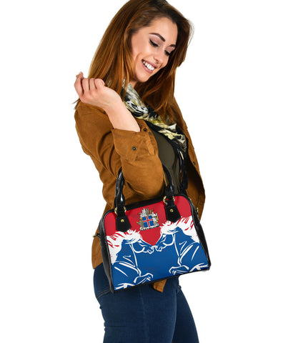 1stIceland Pullover Shoulder Handbag, Horse Coat Of Arms Couple Style K4 - 1st Iceland
