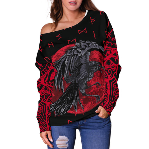 1stIceland Viking Off Shoulder Sweater , Odin Raven with Blood Moon Th5 - 1st Iceland