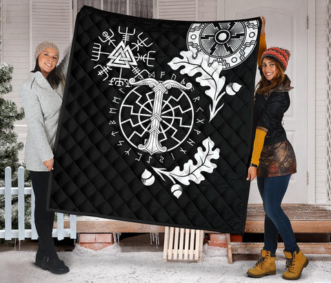 Image of 1stIceland Viking Oak Leaf Premium Quilt Valknut Vegvisir With Irminsul - Black K8 - 1st Iceland