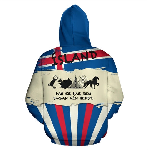 1stIceland Pullover Hoodie, Ísland FLag Coat Of Arms It's Where My Story Begins K5 - 1st Iceland