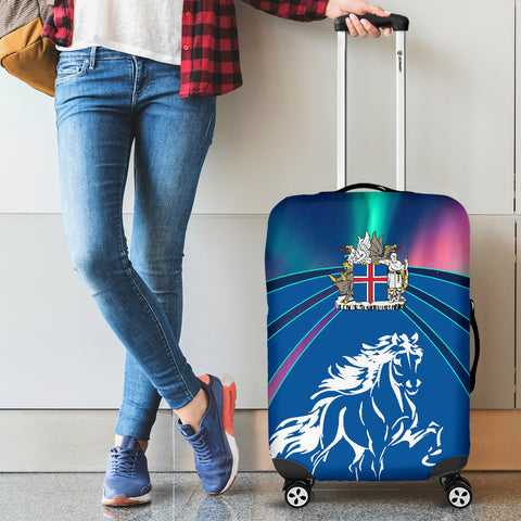 1stIceland Pullover Luggage Covers, Icelandic Horse Coat Of Arms Northern Lights K4 - 1st Iceland