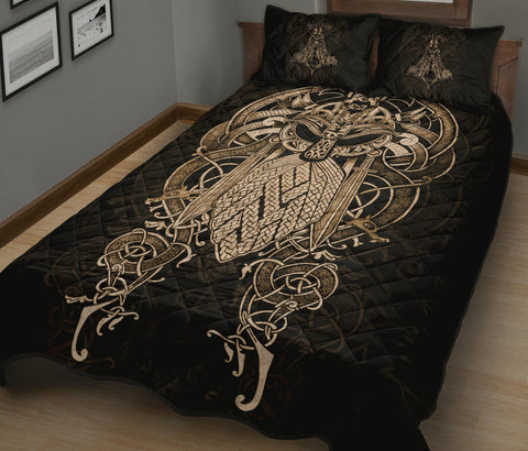 Image of 1stIceland Viking Quilt Bed Set, Odin Mjolnir K4 - 1st Iceland