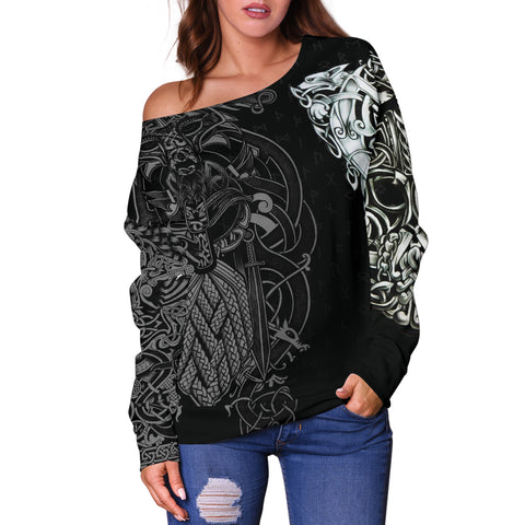 1stIceland Viking Women's Off Shoulder Sweater - Odin Tattoo Special K7 - 1st Iceland