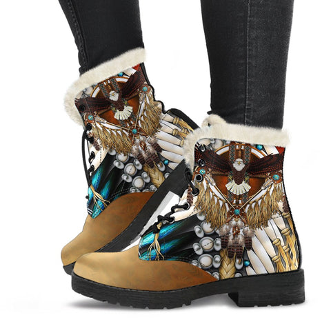 Native American Faux Fur Leather Boots Mandala 3th K7 - 1st Iceland