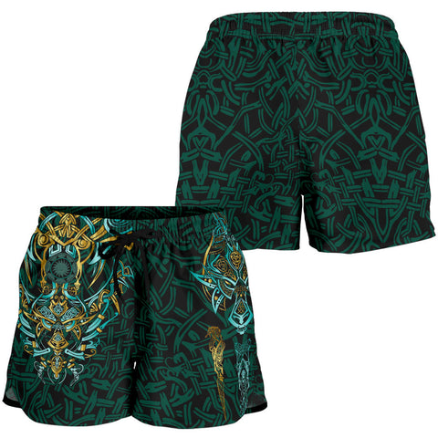 Image of 1stIceland Viking All Over Print Women's Shorts, Fenrir The Vikings Wolves Th00 - 1st Iceland