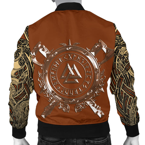 1stIceland Viking Men's Bomber Jacket, Odin Norse Mythology Runes Valknut Th00 - 1st Iceland