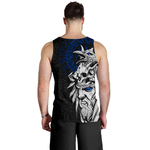 1stIceland Viking Odin And Raven Blue Men's Tank Top TH12 - 1st Iceland