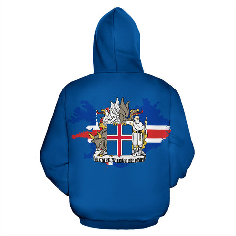 Image of 1stIceland Pullover Hoodie, Iceland Map Coat Of Arms Puffin K4 - 1st Iceland