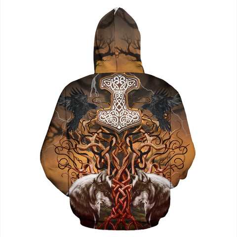1stIceland Viking Zip Up Hoodie, Tree Of Life Odin's Ravens Fenrir Mjolnir K4 - 1st Iceland
