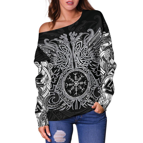 1stIceland Viking Women's Off Shoulder Sweater, Odin's Ravens Helm Of Awe Th5 - 1st Iceland