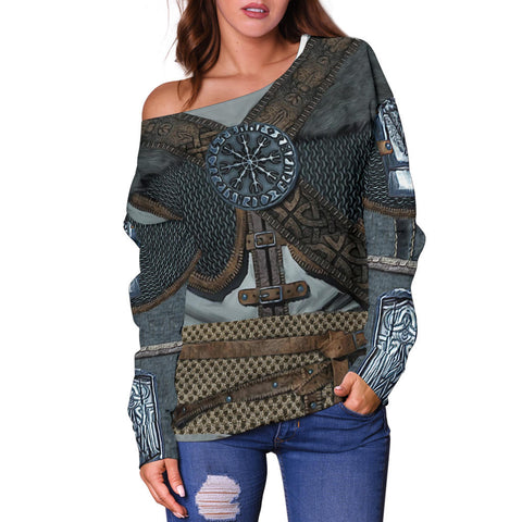 1stIceland Viking Off Shoulder Sweater, 3D Vikings Armor with Helm Of Awe Th00 - 1st Iceland