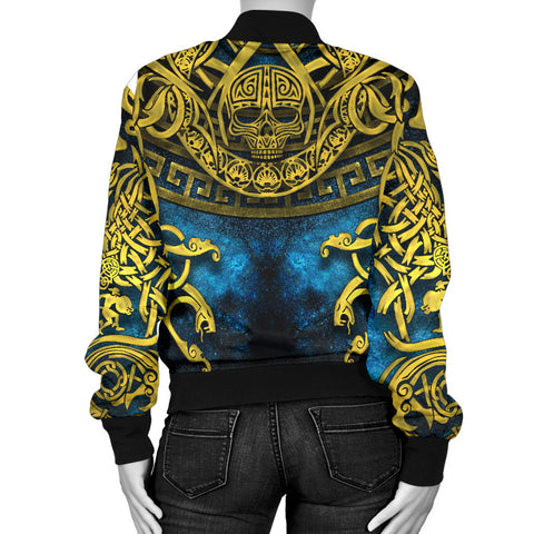 1stIceland Celtic Women's Bomber Jacket, Celtic Knot Tattoo All Over Design - 1st Iceland