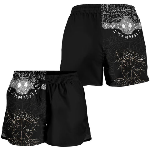 Image of 1stIceland Viking Women's Shorts - Askr Yggdrasils Runes K7 (Black) - 1st Iceland