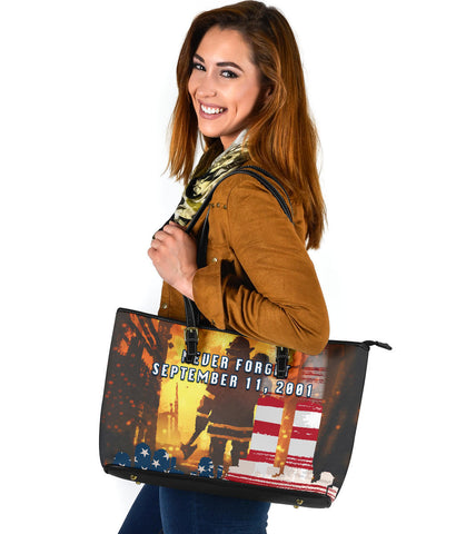 1stIceland American Firefighters Large Leather Tote 9.11.01 Never Forget K8 - 1st Iceland