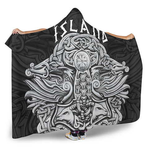 Image of 1stIceland Viking Hooded Blanket, Mjolnir Helm Of Awe K4 - 1st Iceland
