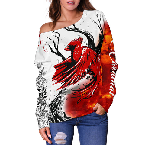 1stIceland Cardinal Red Bird Off Shoulder Sweater K4