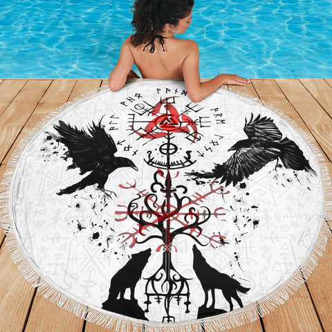 1stIceland Viking Beach Blanket, Vegvisir Hugin and Munin with Fenrir Yggdrasil K4 - 1st Iceland
