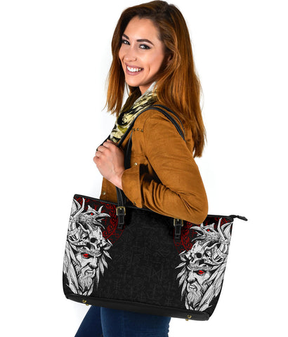 1stIceland Viking Odin And Raven Large Leather Tote TH12 - 1st Iceland