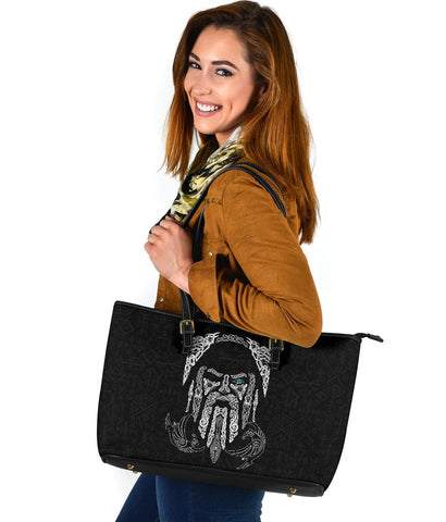 1stIceland Viking Large Leather Tote, Odin's Eye with Raven K4 - 1st Iceland