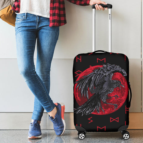 1stIceland Viking Luggage Covers, Odin Raven with Blood Moon Th5 - 1st Iceland