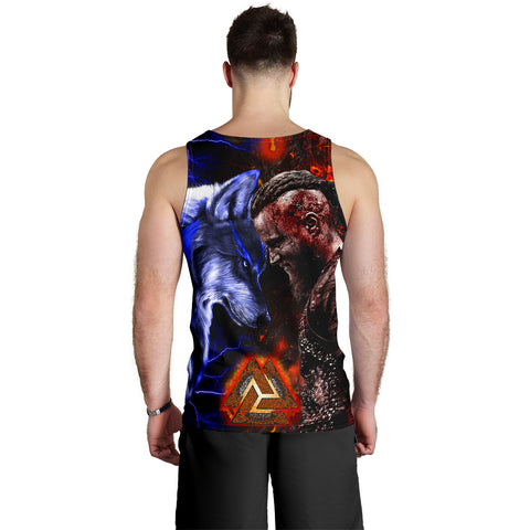 Image of 1stIceland Viking Men's Tank Top Ragnar and Wolf | 1stIceland.com