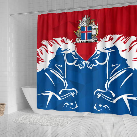 Image of 1stIceland Pullover Shower Curtain, Horse Coat Of Arms Couple Style K4 - 1st Iceland